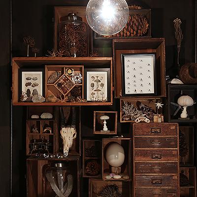 店内ディスプレイ : 古い木箱や、小引き出しをパズルのように積みあげたディスプレイ。